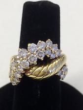 Jose Hess 2.00ct Diamond 14k Yellow Gold Interlace Design Band Ring Size 7