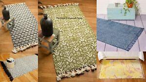 Indian Hand Block Print Cotton Floor Rug Home Decor Mat Carpet Throw 90x150CM