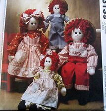 """Rag Doll Raggedy Ann Andy 16"""" 22"""" & Clothes Craft Pattern soft sculpture"""