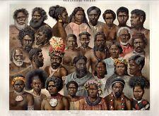 c.1890 ORIGINAL LITHOGRAPH Ozeanische Völker OCEANIC PEOPLE Meyers Konversations
