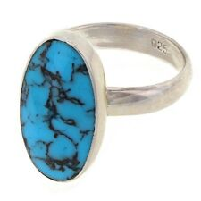 925 Sterling Silver Cocktail Oval Onyx, White Opal or Turquoise Ring Sizes 6-8