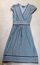 City Triangle Mint Brown Geometric Print Tie Back Cap Sleeve Dress~EUC~Ladies M