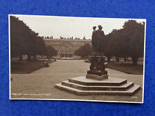 Sepia postcard: London, Hampton Court Palace, East Front and statue