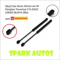 2 x Gas Struts 435mm ext lift Flexiglass Tourertop C16-02622 228583 ML4414 28lbs