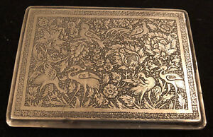 ANTIQUE HANDCRAFTED PERSIAN SOLID SILVER 19 CENTURY CIGARETTE CASE