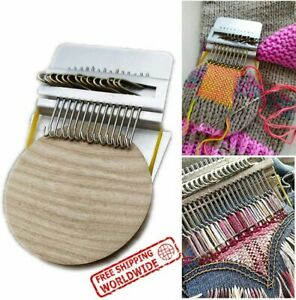 (42 Hooks) Small Loom-Speedweve Type Weave Tool, Darning Machine with Wood Disc