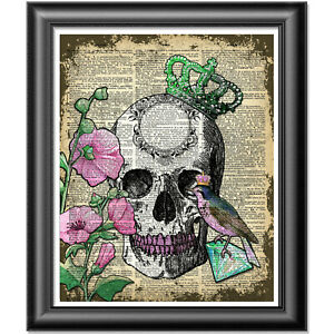 Original ART Print DICTIONARY ANTIQUE BOOK PAGE Queen Skull Diamond Wall Hanging