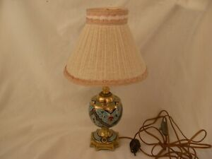 ANTIQUE FRENCH ENAMELED BRONZE,CLOISONNE,TABLE LAMP,LATE 19th CENTURY