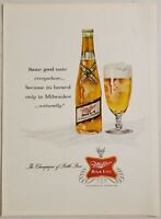 1961 Print Ad Miller High Life Beer Glass & Bottle Brewed Only in Milwaukee