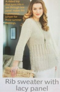 Ladies Lacy Ribbed Sweater Size 81-102cm DK Knitting Pattern - L131