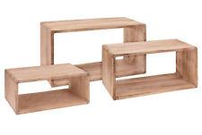 Wandregal Rechteck 3er Set aus Holz - 45/40/35 cm - Hängeregal Würfel Regal