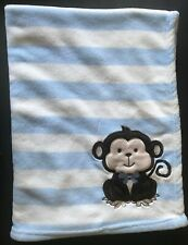 New listing Snugly Baby Plush Blue White Stripe Brown Monkey Baby Security Blanket Lovey