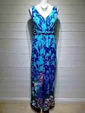 M&Co Maxi Dress ~ Size 12 ~ Purple Floral ~ Sleeveless ~ Casual Party ~ 1937
