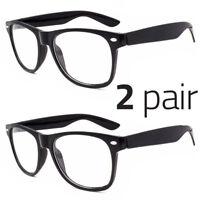 2 PAIR Mens Womens Clear Lens Nerd Retro  Unisex Glasses Fashion Eyewear