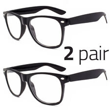 2 Pair Men Women Clear Lens Nerd Retro  Unisex Glasses Fashion Eyewear