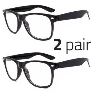 2 Pair Men Women Clear Lens Nerd Retro  Unisex Glasses Fashion Eyewear
