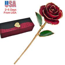 Love Forever Long Stem Dipped 24k Gold Foil Trim Rose For lover Mother Friends
