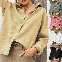 Women Casual Long Sleeve Cotton and Linen Button Cardigan Tops T-shirt US