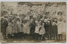 ST GEORGES DAY CELEBRATION ? PHOTO POSTCARD H WAPLES MANSFIELD FLAG WAVING GIRLS