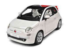 2009 FIAT 500 C CABRIOLET WHITE 1/24 DIECAST MODEL CAR BY BBURAGO 22117