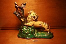 Antique Cast Iron LION & TWO MONKEYS Mechanical Bank by Kyser & Rex . cir. 1883