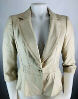 WHBM 2 Women's Blazer Jacket Suit Coat Peplum Khaki Single Button Career Casual