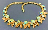 """Vintage Juliana AB Yellow Rhinestone Gold tone Necklace 15"""""""