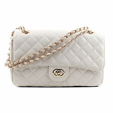 NEW Women Ladies Shoulder Quilted Handbag Gold Chain Faux Leather Cross Body Bag