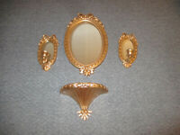Vintage Home Interiors Gold Oval Wall Mirror Set w 2 Sconces & Shelf USA
