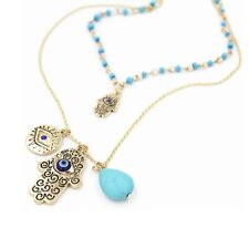 Vintage Multilayer Gold Plated Chain Hamsa Necklace