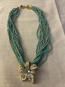 NOLAN MILLER Blooming Blue Turquoise Gold Seed Bead Necklace with Flower Slide