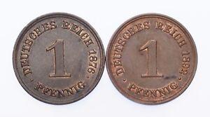 1876-A & 1892-A Germany 1 Pfennig Lot of 2 Coins (AU-UNC Condition)
