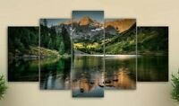 Multi Panel Print Mountain Lake View Canvas Wall Art Landscape River 5 Piece