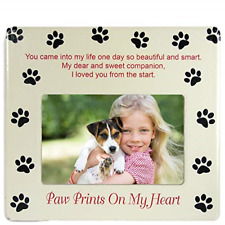 Banberry Designs Pet Memorial Picture Frame - Paw Prints on My Heart - Pet