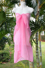 Sheer Sarong SOLID PINK Beach Cover-up Hawaii Vacation Bikini Wrap Skirt Dress