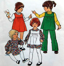 "* Vintage 2007 Toddler Dress Pinafore Pants Pattern sz 1 Breast 20""  1977 UNCUT"