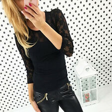 Women Spliced Lace Sleeve Crew Neck T-Shirt Stretch Slim Casual Blouse Top Shirt