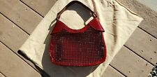 BURBERRY RED STUDDED ELLY PATENT LEATHER HOBO BAG