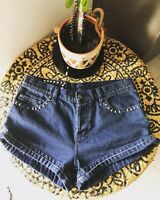 KSUBI Size 29 High Waist Cuffed Dark Blue Denim Studded Botton Fly Shorts
