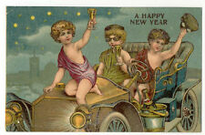 1909 ANTIQUE AUTO WITH 3 KIDS DRINKING POSTCARD PC5999