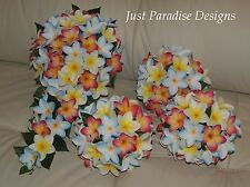 Silk Flower Wedding Bouquet Set - Artificial Frangipani  Tropical Bride Teardrop