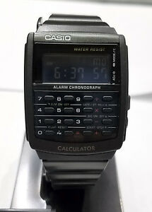 CASIO VINTAGE Calculator Watch Metal CA506B-1Black tone Metal. Reverse display