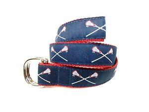 """Preston Lacrosse Belt 36""""-40"""" Red Canvas/Blue Fabric Silver D-ring Buckle LkNu27"""