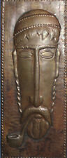 VINTAGE RUSSIAN MODERNIST HAND MADE BRONZE WALL DECOR PLAQUE MAN WITH PIPE