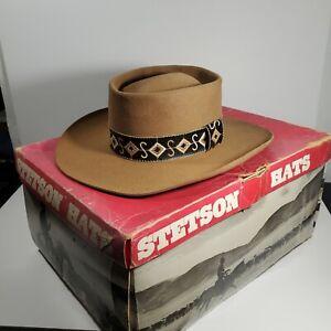 """Vintage 80s 90s John B Stetson Brown 4X Beaver """"S"""" Cowboy Hat Size 7"""