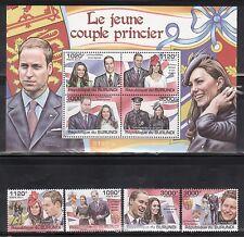 Burundi 1001-05 Prince William and Kate Mint NH