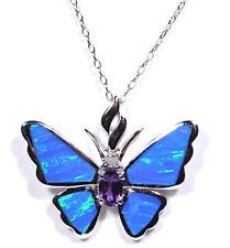 ametista & Blu Opale di Fuoco Argento Sterling 925 farfalla collana con ciondolo