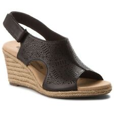 Clarks Ladies Wedge Sandals LAFLEY ROSEN Black Leather UK 6 / 39.5