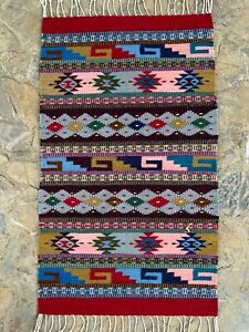 """Zapotec Oaxacan 23x40"""" Hand Woven Multicolor Geometric Pattern Wool Tapestry Rug"""