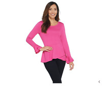 Isaac Mizrahi Live! Knit Asymmetric Peplum Top with Sleeve Detail Pink, Large